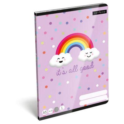 Füzet LIZZY CARD A/5 32 lapos vonalas 14-32 I. osztályos It`s all good