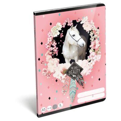 Füzet LIZZY CARD A/5 32 lapos vonalas 16-32 II. osztályos rose fehér lovas