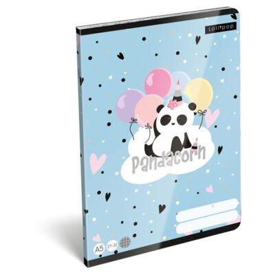 Füzet LIZZY CARD A/5 32 lapos kockás 27-32 Pandacorn