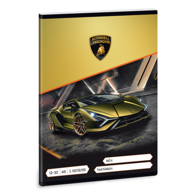 Füzet ARS UNA A/5 32 lapos vonalas 12-32 III. osztályos Lamborghini