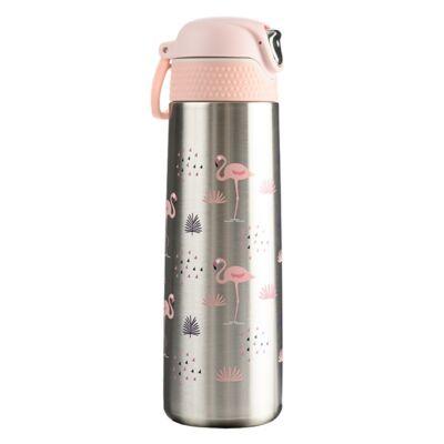 Termosz WABO 420 ml acél fedeles ezüst flamingo