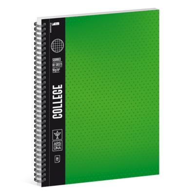 Spirálfüzet ARS UNA College A/4 80 lapos négyzethálós zöld