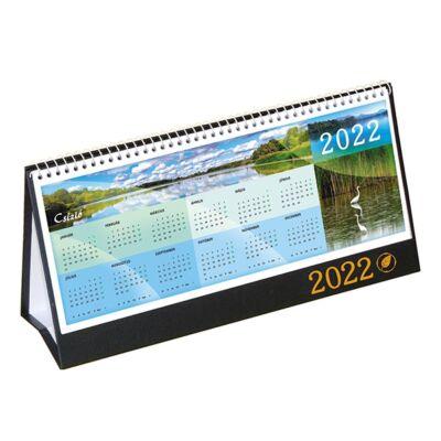 Asztali naptár képes CSÍZIÓ álló fehér lapos idézetes bőr hatású Öko hátlap fekete 2022.