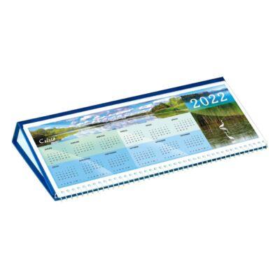 Asztali naptár képes CSÍZIÓ fekvő fehér lapos idézetes bőr hatású Öko hátlap kék 2022.