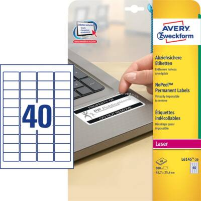 Etikett AVERY L6145-20 45,7x25,4mm laser biztonsági 800 címke/doboz 20 ív/doboz