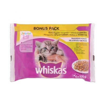 Állateledel alutasakos WHISKAS Junior macskáknak 4-pack szárnyas válogatás 4x100g