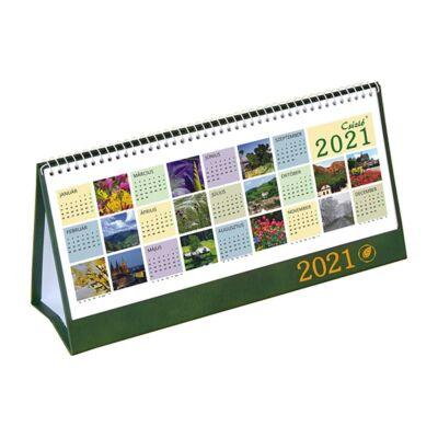 Asztali naptár képes CSÍZIÓ álló fehér lapos idézetes PVC hátlap zöld 2021.