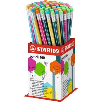 Grafitceruza display STABILO Pencil 160 HB hatszögletű radíros 72 db-os